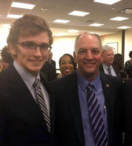 Senior Adam Nettles pictured with Louisiana Governor John Bel-Edwards
